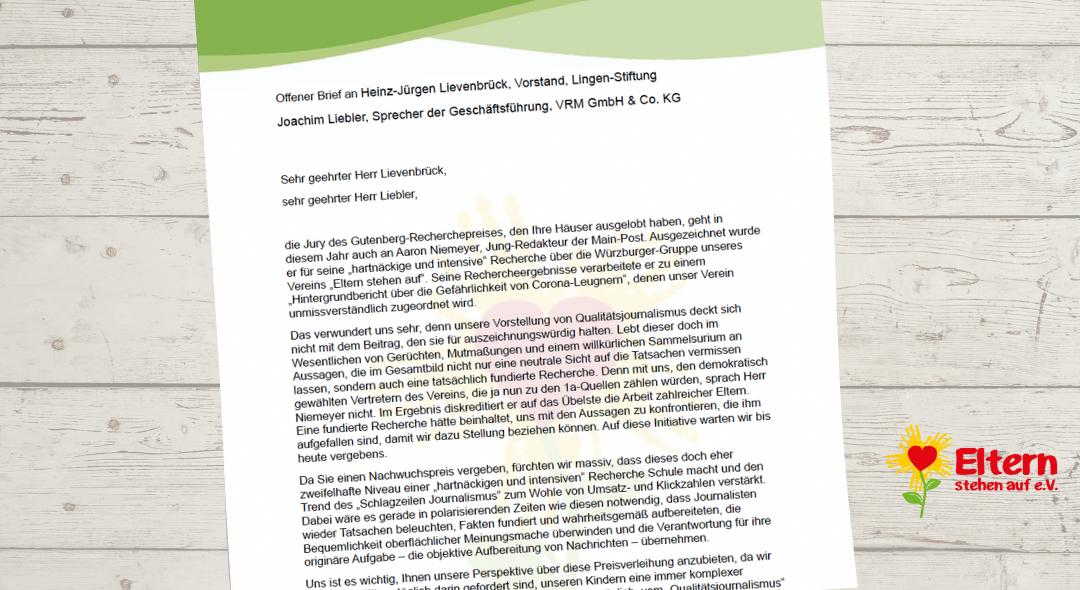 Offener Brief an Heinz-Jürgen Lievenbrück, Vorstand, Lingen-Stiftung